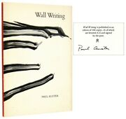 Paul Auster / Wall Writing Signed 1st Edition 1976