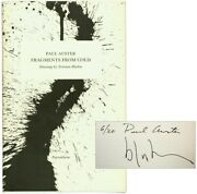 Paul Auster / Fragments From Cold Signed 1st Edition 1977