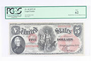 1875 5 Legal Tender Wood Chopper Red Wavy Seal Pcgs Currency New 62