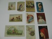 10- Victorian Sewing Co. Cards, White, Willimantic Thread, Clark's Ontario, Expo