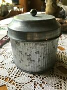 Farmhouse Silver Grey Galvanized Metal Canister With Lid 5 X 5