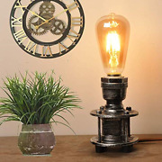 Mid Century Industrial Table Lamps Bedside Antique Silver Grey Metal Steampunk