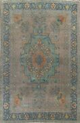 Antique Floral Traditional Oriental Area Rug Hand-knotted Wool 9x13 Large Carpet