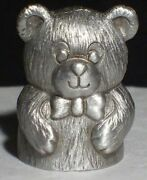 Pewter Cuteteddy Bear Thimble Vintage Spoontiques Rare