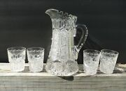 Meriden  Abp Brilliant Cut Glass Pitcher And 4 Tumblers