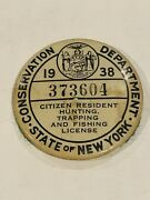 1938 State Of New York Conservation Dept Citizen Resident Hunting License Pin