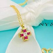 And Co 18k Rubies And Diamond Roman Cross Pendant 16 Necklace