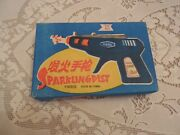 Vintage Lion Tin Toy Space Age Ray Gun Sparkling Pistol With Box New Old Stock