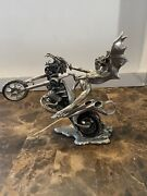 Franklin Mint Julie Bell Passion Burns Pewter Motorcycle Fantasy Statue Valkyrie