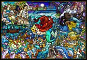 Ten-dp1000-033 Disney Little Mermaid Story Stained Glass 1000piece Jigsaw Puzzle