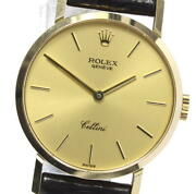 Rolex Cellini 4109 18k Yellow Gold Cal,1601 Hand Winding Ladies Watch_610621