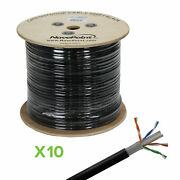 Cat6 500ft Utp Solid Copper Outdoor Direct Burial Ldpe 23awg Black 10-pack