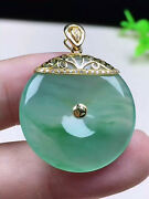 18k Yellow Gold High Icy Glassy Translucent Green Jadeite Jade【a】donuts Pendant