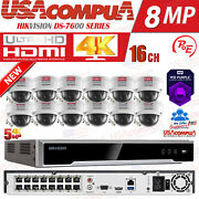 Hikvision 16 Channel 4k 8mp Poe Nvr 12x5mp Ip Dome Camera Cctv Security System