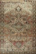 Vintage Geometric Traditional Oriental Area Rug Hand-knotted Wool 9x12 Ft Carpet