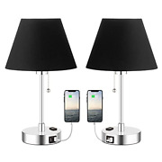 Table Lamps For Bedrooms Set Of 2, Usb Charging Ports And Ac Power Outlet, Small