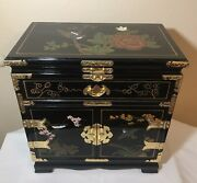 Vintage Asian Lacquerware Jewelry Box Chest Cabinet Brass Hardware Birds Flowers