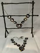 Antique Faux Sweetheart Tortoise Shell Necklace Wearable Repair Salvage Rare