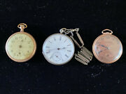 Three Vintage Pocket Watches- Bulova Cylindre And Consistent