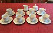 China Pearl Fine China Liling 8 Set Cups/saucers Sugar W/lid Creamer White