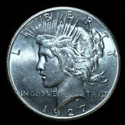 1927-p 1 Peace Silver Dollar ✪ Uncirculated Unc ✪ S1 Bu Ms L@@k S9 ◢trusted◣