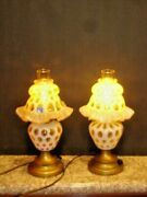 Fenton Honeysuckle Opalescent Coin Dot Pair Lamps Label Rare And Old 1948-1949