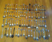 Vintage Mixed Lot Of 76 Travel Souvenir Collector Spoons - States, Places, World