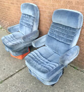 Vintage 1980s Van Custom Blue Cloth Front Seats Captain Chairs Chevy Dodge Ford