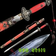 Boutique Chinese Sword Feather Steel Blade Genuine Ray Skin Sheath Handmade