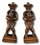 Antique French Architectural Carved Figural Court Jester Supports Posts Pillars