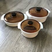Vintage Fire King Casserole With Amber Lid Made In Usa Set Of 3
