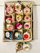 Vintage Christmas Tree Glass Ornaments Reflector Indents Poland 14 Ornaments