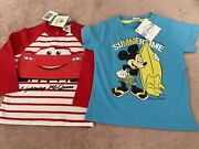 Disney Cars And Mickey Mouse Tops 12m 12-18m New With Tags Summer Clothes