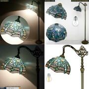 Style Reading Floor Lamp Led Bulb Dragonfly Sea Blue Stained Glass Shade