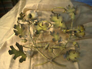 Vintage Oak Leaf And Acorn Wall Sconce With Holders - 15 Across Yellow / Brown