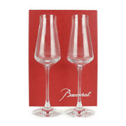 Baccarat Glass Crystal Clear Champagne Glass Champagne Flute Pair