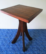 Antique Table, Mission Arts And Crafts Style, Vintage Solid Oak, Side End, 4 Legs