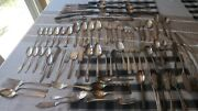 Lot Of 86 Silverplate Spoons Forks Knives Vintage Flatware Silverware Craft Use