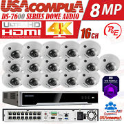 Hikvision 4k Security System Kit Nvr 16ch Poe 4mp Mini Dome /optional Hdd