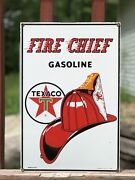 Vintage 1986 Fire Chief Gasoline Texaco Ande Rooney Porcelain Advertising Sign