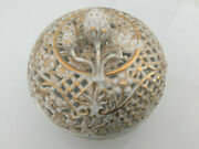 Rare Helend Vintage Herend Candy Dish Basket Woven Gold With Lid