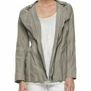 Eileen Fisher Taupe Rumpled Cotton Steel Removable Hood Jacket Sz S 338