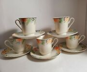 Vintage Gibson China 5 Tea/coffee Cups And 5 Saucers Tropicana Retired Patern