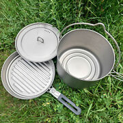 Lightweight Camping Cookware Set 2.8l Pot With 1.1l Pan For V3j4