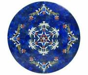 42and039and039 Antique Marble Table Top Dining Coffee Center Round Inlay Blue Lapis Mosaic