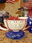 Rae Dunn Fourth 4th Of July Patriotic Stars Ceramic Mixing Bowl And Usa Whisk Set