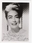 Joan Crawford, American Film And Television Actress. B/w, 5x7, Inscribed Photo