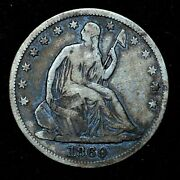 1869-s Seated Liberty Half Dollar ✪ Vf Very Fine Details ✪ 50c Cleaned ◢trusted◣