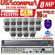 Hikvision Cctv Security Kit 4k 16 Ch 16 X 5mp Outdoor Dome 6tb Hdd 4k-uhd