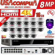 Hikvision 16 Channel 4k 8mp Poe Nvr 16x5mp Ip Dome Camera Cctv Security System